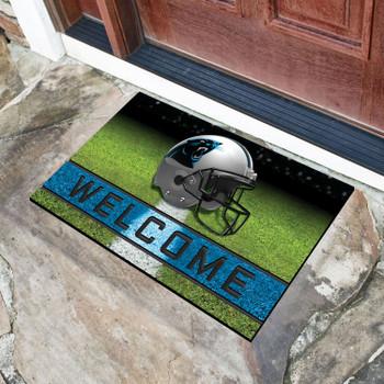 """18"""" x 30"""" Carolina Panthers Black Crumb Rubber Door Mat"""