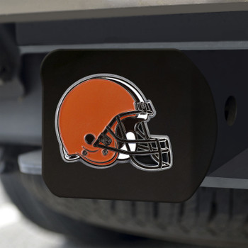 Cleveland Browns Hitch Cover - Orange on Black
