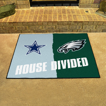 """33.75"""" x 42.5"""" Cowboys / Eagles House Divided Rectangle Mat"""