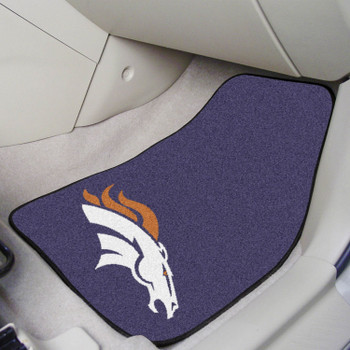 Denver Broncos Navy Carpet Car Mat, Set of 2