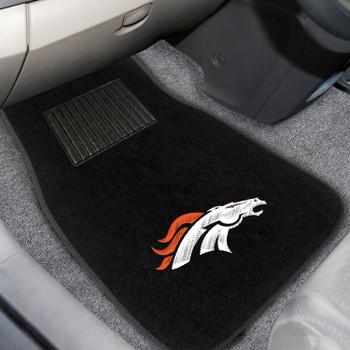 Denver Broncos Embroidered Black Car Mat, Set of 2
