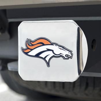 Denver Broncos Hitch Cover - Orange on Chrome