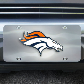 Denver Broncos Diecast Stainless Steel License Plate