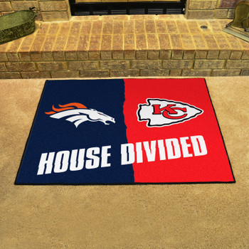 """33.75"""" x 42.5"""" Broncos / Chiefs House Divided Rectangle Mat"""