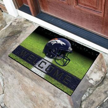 """18"""" x 30"""" Denver Broncos Navy Crumb Rubber Door Mat"""