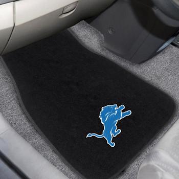 Detroit Lions Embroidered Black Car Mat, Set of 2