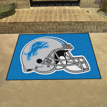 """33.75"""" x 42.5"""" Detroit Lions All Star Blue Rectangle Rug"""