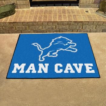 "33.75"" x 42.5"" Detroit Lions Man Cave All-Star Blue Rectangle Mat"