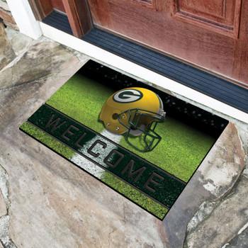 """18"""" x 30"""" Green Bay Packers Green Crumb Rubber Door Mat"""