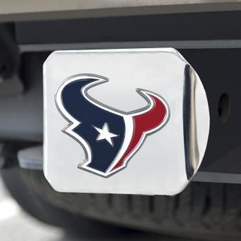 Houston Texans Hitch Cover - Blue on Chrome