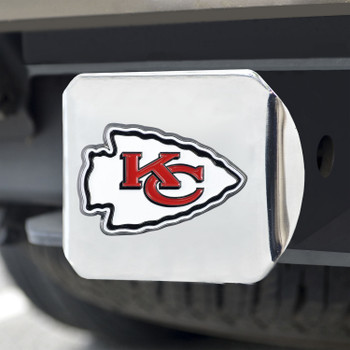 Kansas City Chiefs Hitch Cover - Red on Chrome