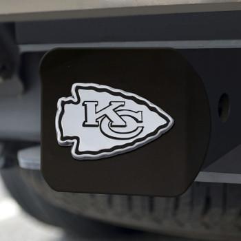 Kansas City Chiefs Hitch Cover - Chrome on Black