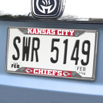 Kansas City Chiefs Chrome and Red License Plate Frame