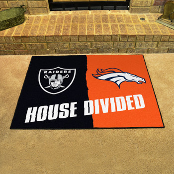 """33.75"""" x 42.5"""" Raiders / Broncos House Divided Rectangle Mat"""