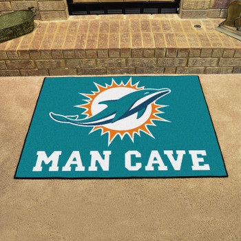 """33.75"""" x 42.5"""" Miami Dolphins Man Cave All-Star Turquoise Rectangle Mat"""