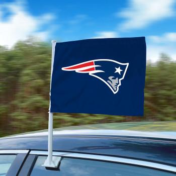 """11"""" x 14"""" New England Patriots Blue Car Flag"""