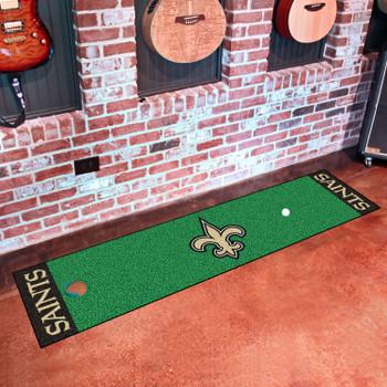 """18"""" x 72"""" New Orleans Saints Putting Green Runner Mat"""