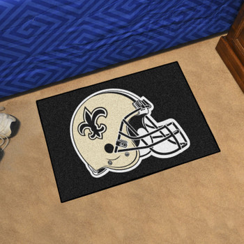 "19"" x 30"" New Orleans Saints Black Rectangle Starter Mat"