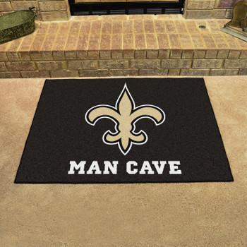 "33.75"" x 42.5"" New Orleans Saints Man Cave All-Star Black Rectangle Mat"