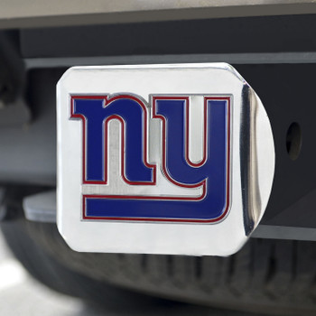 New York Giants Hitch Cover - Blue on Chrome