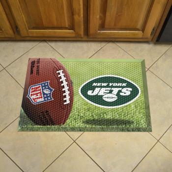 "19"" x 30"" New York Jets Rectangle Photo Scraper Mat"