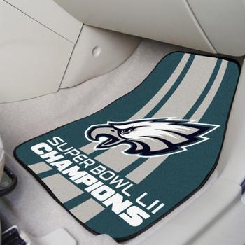 Philadelphia Eagles Super Bowl LII Champions Carpet Car Mat, Set of 2