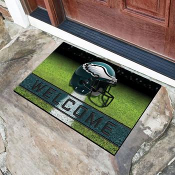 """18"""" x 30"""" Philadelphia Eagles Green Crumb Rubber Door Mat"""