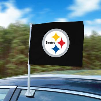 """11"""" x 14"""" Pittsburgh Steelers Black Car Flag"""