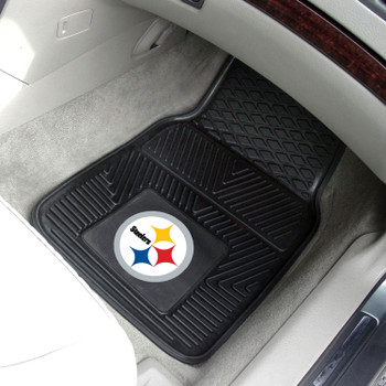 Pittsburgh Steelers Black Vinyl Car Mat, Set of 2