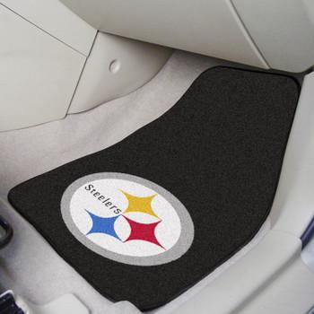 Pittsburgh Steelers Black Carpet Car Mat, Set of 2