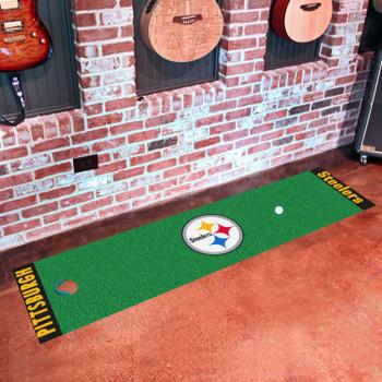 """18"""" x 72"""" Pittsburgh Steelers Putting Green Runner Mat"""