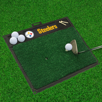 """20"""" x 17"""" Pittsburgh Steelers with Logo Golf Hitting Mat"""
