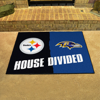 """33.75"""" x 42.5"""" Steelers / Ravens House Divided Rectangle Mat"""