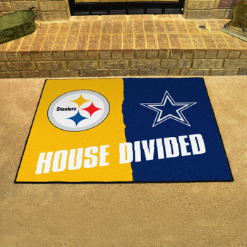"""33.75"""" x 42.5"""" Steelers / Cowboys House Divided Rectangle Mat"""
