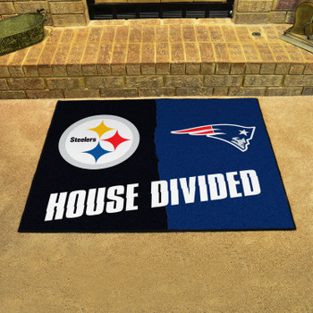 """33.75"""" x 42.5"""" Steelers / Patriots House Divided Rectangle Mat"""