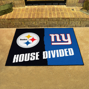 """33.75"""" x 42.5"""" Steelers / Giants House Divided Rectangle Mat"""