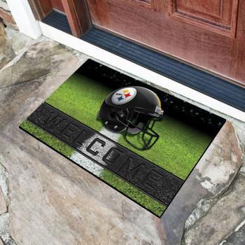 """18"""" x 30"""" Pittsburgh Steelers Black Crumb Rubber Door Mat"""