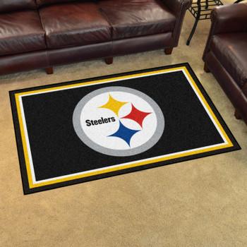 4' x 6' Pittsburgh Steelers Black Rectangle Rug