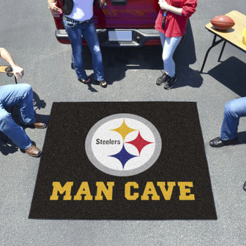 """59.5"""" x 71"""" Pittsburgh Steelers Man Cave Tailgater Black Rectangle Mat"""