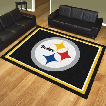 8' x 10' Pittsburgh Steelers Black Rectangle Rug