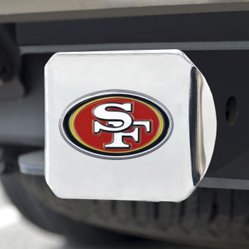San Francisco 49ers Hitch Cover - Red on Chrome