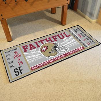 """30"""" x 72"""" San Francisco 49ers Ticket Rectangle Runner Mat"""
