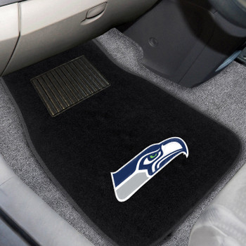 Seattle Seahawks Embroidered Black Car Mat, Set of 2