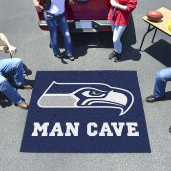 """59.5"""" x 71"""" Seattle Seahawks Man Cave Tailgater Blue Rectangle Mat"""