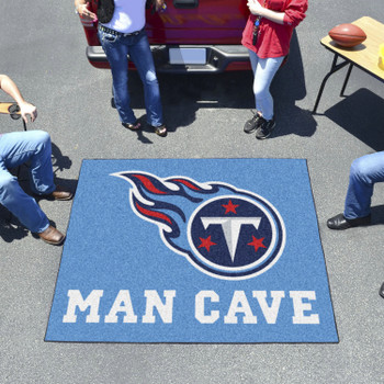 """59.5"""" x 71"""" Tennessee Titans Man Cave Tailgater Navy Rectangle Mat"""