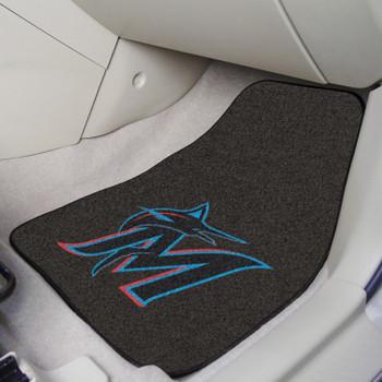 Miami Marlins Black Carpet Car Mat, Set of 2