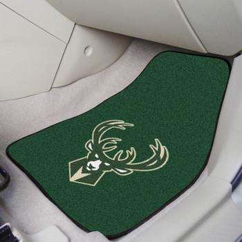 Milwaukee Bucks Green Carpet Car Mat, Set of 2