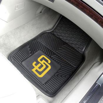San Diego Padres Black Vinyl Car Mat, Set of 2