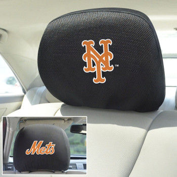 New York Mets Embroidered Car Headrest Cover, Set of 2