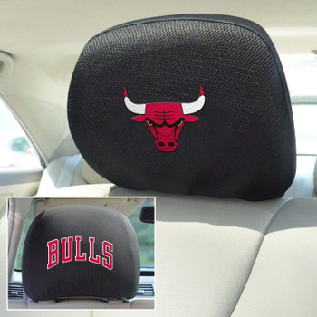 Chicago Bulls Embroidered Car Headrest Cover, Set of 2